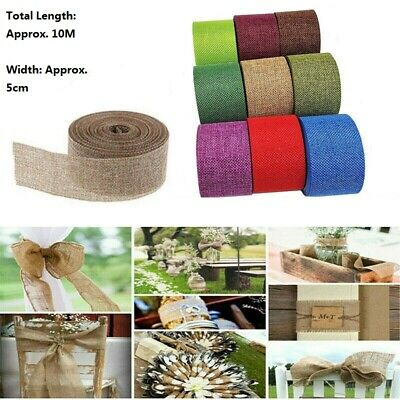 Burlap Ribbon Roll Hessian Jute Fabric Rustic Wedding Xmas Party DIY Decor 10m • 5.74£