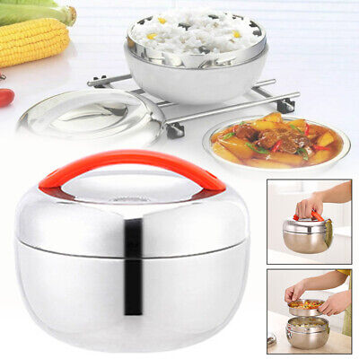 AU30.97 • Buy Stainless Thermo Insulated Thermal Food Container Round Lunch Box Layer Home Hot