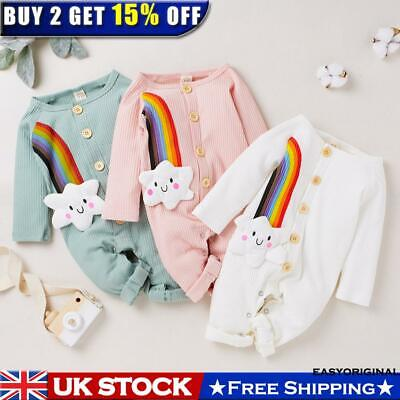 Newborn Baby Girl Jumpsuit Playsuit Clothes Outfits Infant Romper Rainbow Tops • 11.59£