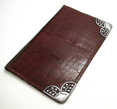 Large Antique Victorian Sterling Silver Crocodile Leather Wallet Card Stamp Case • 159£