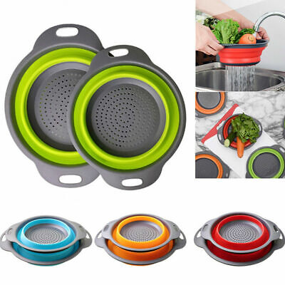 Kitchen Collapsible Foldable Silicone Colander Fruit Vegetable Strainer Baskets • 5.39£