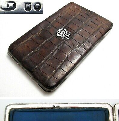 Victorian 1887 Sterling Silver Crocodile Skin Leather Wallet Purse Stamp Case • 249£
