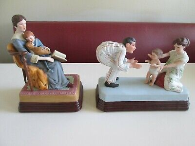 $ CDN10.47 • Buy Lot Of 2 Norman Rockwell 1985 Figurines Bedtime & Baby's First Step