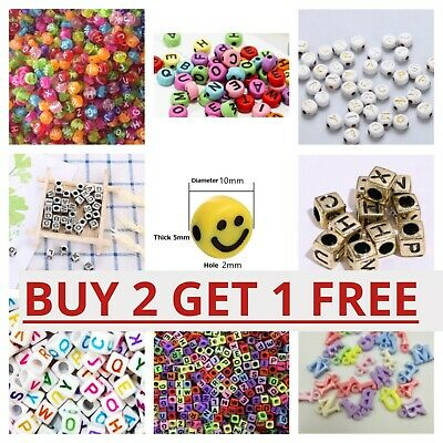 £2.29 • Buy 200 Alphabet Letter Beads Mixed Colour A-Z Number Kids DIY Jewellery Party Gift