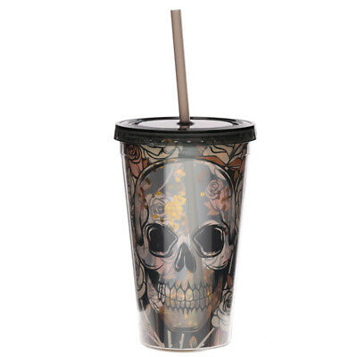 Double Walled Cup With Lid And Straw - Skulls And Roses Design • 9.75£