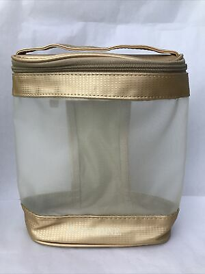 £9.38 • Buy Arbonne Gold Mesh Cosmetic Bag Gold Zip Travel Make-Up Case  NEW