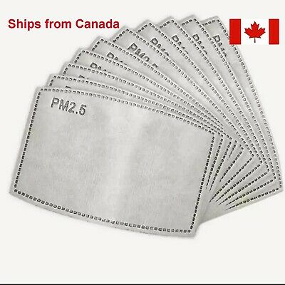 $ CDN4.50 • Buy 5 Or 10 Fabric Face Mask Filters PM2.5 Insert Activated Carbon 5 Layer
