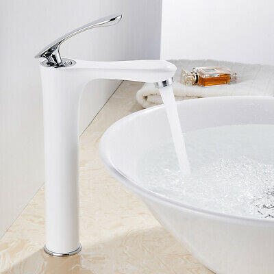 Bathroom Basin Mixer Taps Tall Counter Top Brass White Tap With Chrome Handle Sw • 55.59£