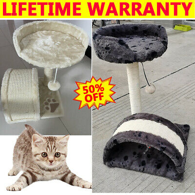Cat Tree Scratching Post Scratch Activity Centre Bed Toys Scratcher Play House • 19.99£