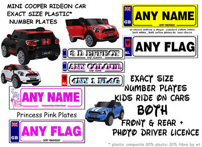 2 X Exact Size Personalised Number Plates Kids Ride On Electric Mini Cooper Car  • 4.95£