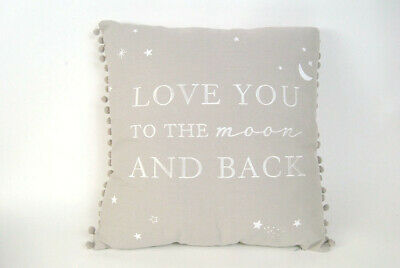 Grey Cushion And Inner With Pom Pom Detail & Love You To The Moon And Back Quote • 26.50£