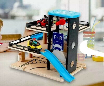 Kids Wooden Car Garage Carpark Parking Lot Wooden Toy With Cars And Helicopter • 34.95£