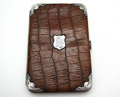 Large Edwardian Solid Sterling Silver Crocodile Leather Wallet Card Stamp Case • 329£