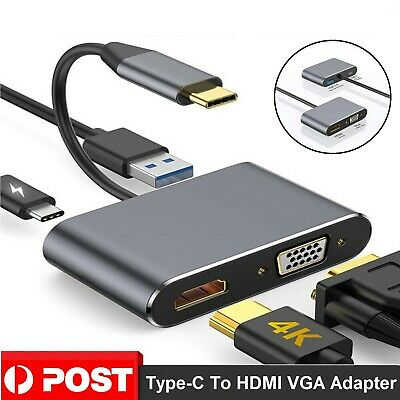 AU37.88 • Buy New USB C To 4K HDMI VGA Adapter 4-in-1 Hub USB 3.0 OTG Charging Power PD Port