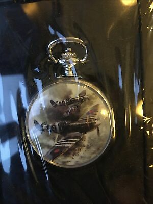 Atlas Editions D-Day Spitfires WW2  Aces Of The Air Silver Plated Pocket Watch • 9.99£