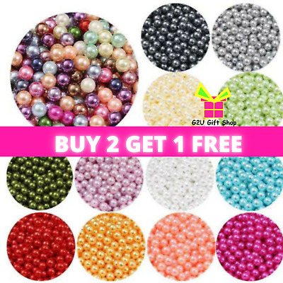 £1.99 • Buy 200 Faux Pearl Beads Round Acrylic Mixed Colour Jewellery Wedding Sewing Crafts