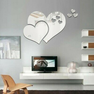 Removable Heart Shape Mirror Sticker Decal Self Adhesive Art Decor Wall Stickers • 1.99£