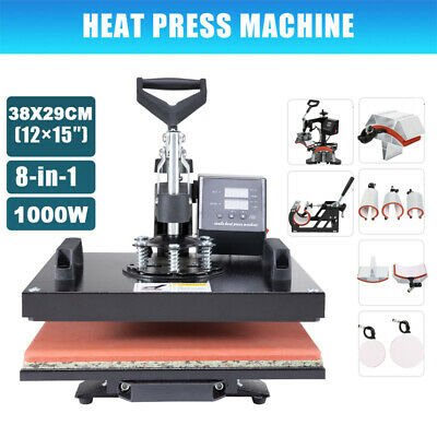 AU283.59 • Buy 8 In1 Digital Heat Press Machine Transfer Sublimation T-shirt Cap Hat 15  X 12