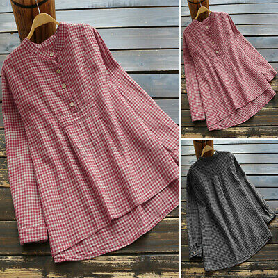 £9.45 • Buy UK Womens Button Up Long Sleeve Check Plaid Casual Loose Tops Tunic Shirt Blouse