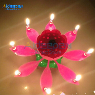 $ CDN10.15 • Buy 1Pcs Birthday Cake Lotus Flower Candle Music Light Art Candle Lights For DIY Cak