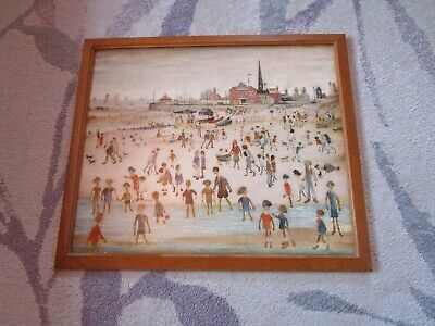 Vintage L S Lowry Print Titled At The Seaside.  Sealed Print In Oak Frame • 12.95£