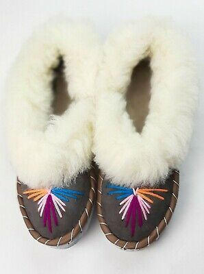 Ladies Women's Sheepskin Slippers 100% Leather Handmade Gift Embroidered Warm   • 15.99£