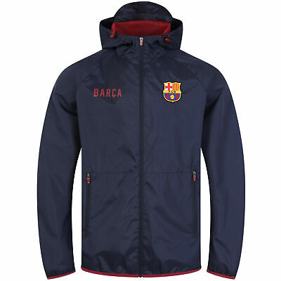 Official FC Barcelona Football Hooded Shower Jacket Mens Large Hoodie • 24.99£