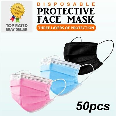 Black Pink Disposable Face Masks Genuine Mask Medical Surgical (3 Ply Not 2 Ply) • 4.97£