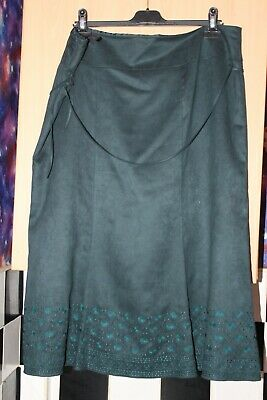 Dark Teal Green Suede Feel Lined Flare Skirt. By M&S Size 20 Boho Gypsy Ethnic • 1.20£
