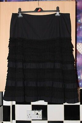Black Frill Ruffle Layered Skirt. By Principles. Size 16 Goth • 1.20£