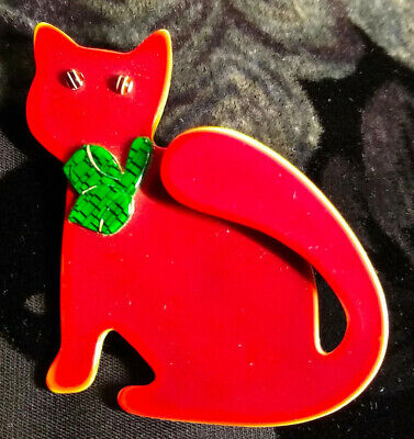 £68.33 • Buy Vintage Christmas Red & Green Lea Stein Watching Cat Brooch/pin - Signed
