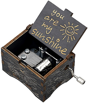 Uwows Vintage Wood Hand Crank Music Box You Are My Sunshine Gift For Familier My • 13.48£