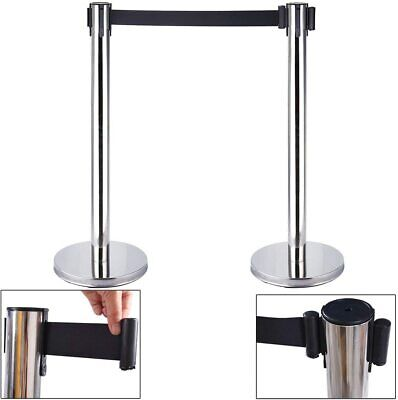 2X Queue Barrier Belt Stanchion Retractable Crowd Control Barriers Stainless HS • 25.95£