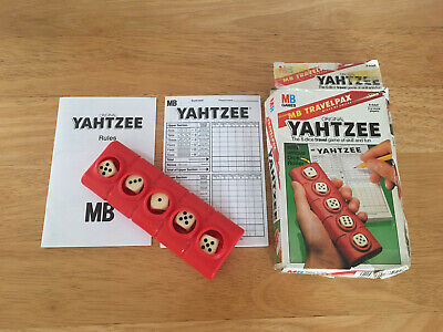 Vintage MB Games 1983 Travel Yahtzee ~ Dice Game With Unique Dice Roller • 11.99£