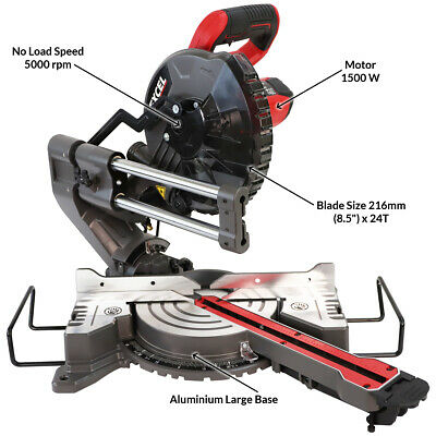 Excel 216mm Compound Mitre Saw Sliding Bevel Cut With Laser 1500W • 114.99£