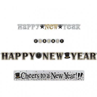 4 X New Years Eve Letter Black Gold Reusable Banner Party Decorations NYE 2021 • 8.79£