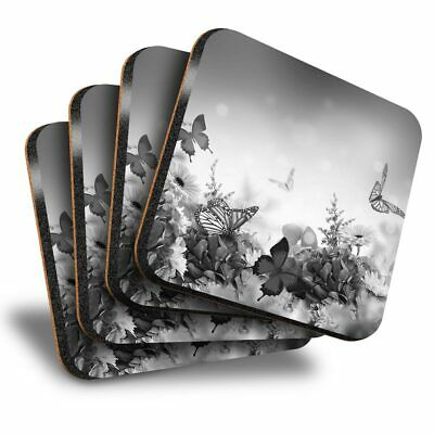 Set Of 4 Square Coasters - BW - Butterflies Flowers Floral  #41249 • 8.99£