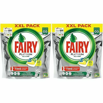 130 X Fairy Platinum Dishwasher Tablets Lemon All-in-One Dissolving Tablets, XL • 19.65£