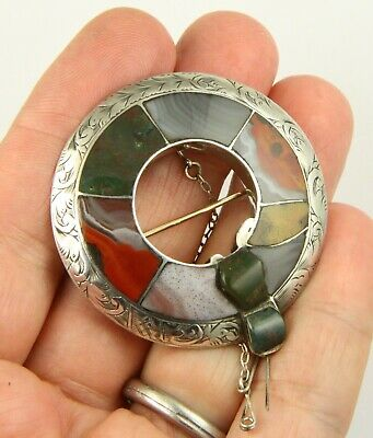 Superb Antique Victorian C1890 Sterling Silver Scottish Agate Pebble Brooch Pin  • 19.99£