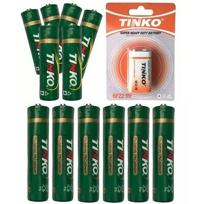 AA AAA PP3 Batteries Zinc Carbon Tinko Super Heavy Duty Battery LR6 LR03 UK • 2.65£