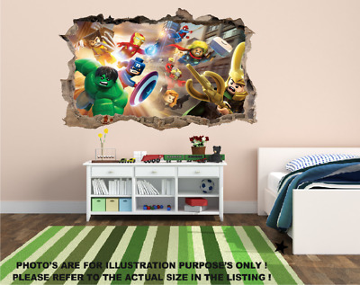Lego Superhero Poster Marvel Wall Sticker Decal Door Boy Girl Nursery Childrens • 16.99£