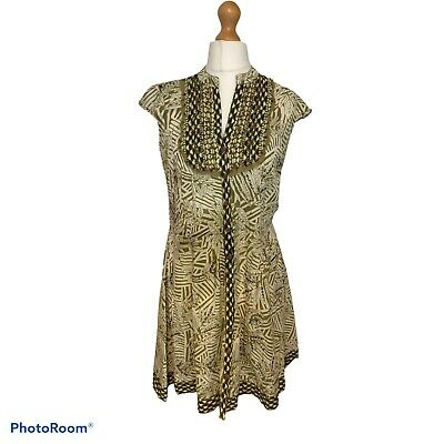 River Island Green Ivory Floral Leaf Button Up Shirt Dress Beads Sequins Size 10 • 10.99£