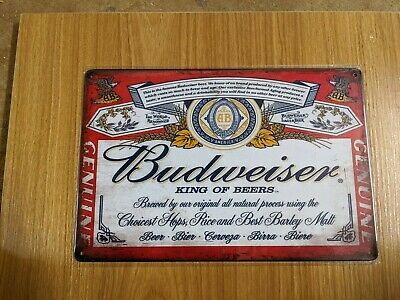 Budweiser VINTAGE PUB BAR METAL SIGN TIN RETRO PLAQUE  MAN CAVE 20X30CM  • 6.50£