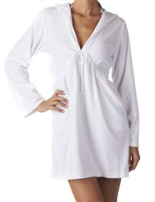 Lepel Towelling Beach Hoodie Kaftan Cover Up With Pockets White Size 10 • 29.99£