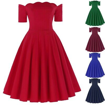 Vintage 1950s A-Line Swing Vintage Dress Housewife Pinup Evening Party Dresses • 27.08£