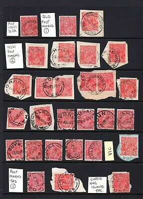 AU19.95 • Buy AUSTRALIA - KGV 1d To 2d Red, WA, TAS, NSW Postmark Collection, Shades, Papers
