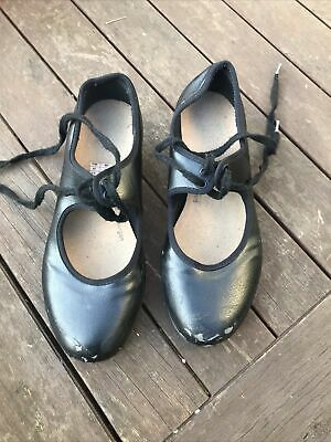BLOCH Girls Black Tap Dance Shoes + TECHNO Toe & HEEL Taps UK Size 2.5 • 1.50£