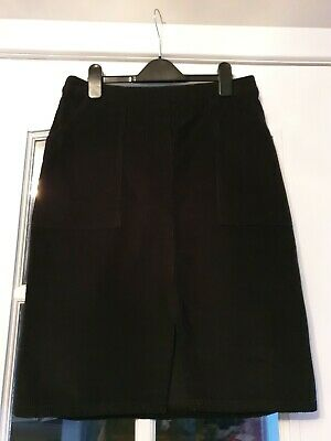 Womens BNWT Black Cord Effect Knee Length Skirt With Pockets Size 10 • 4.50£