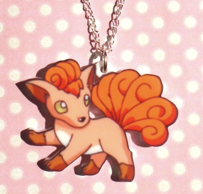 New Vulpix Necklace Pokemon Pendant Fire Gen1 Kanto Acrylic Geek Girl Gamer • 9£