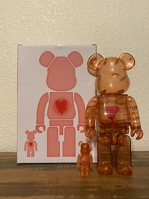 $539.99 • Buy Bearbrick X Emotionally Unavailable Red Heart 100% And 400% With Original Box
